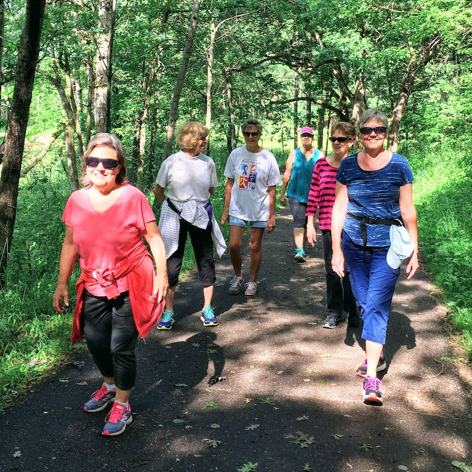 Group of women walking on the trails in the Oakdale Nature Preserve
