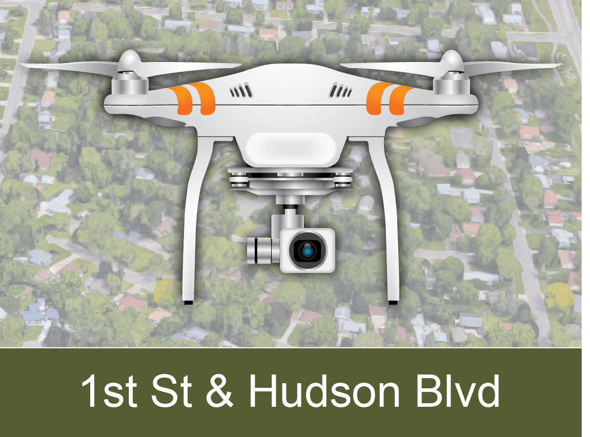 1st Street and Hudson Boulevard Area Drone Videos
