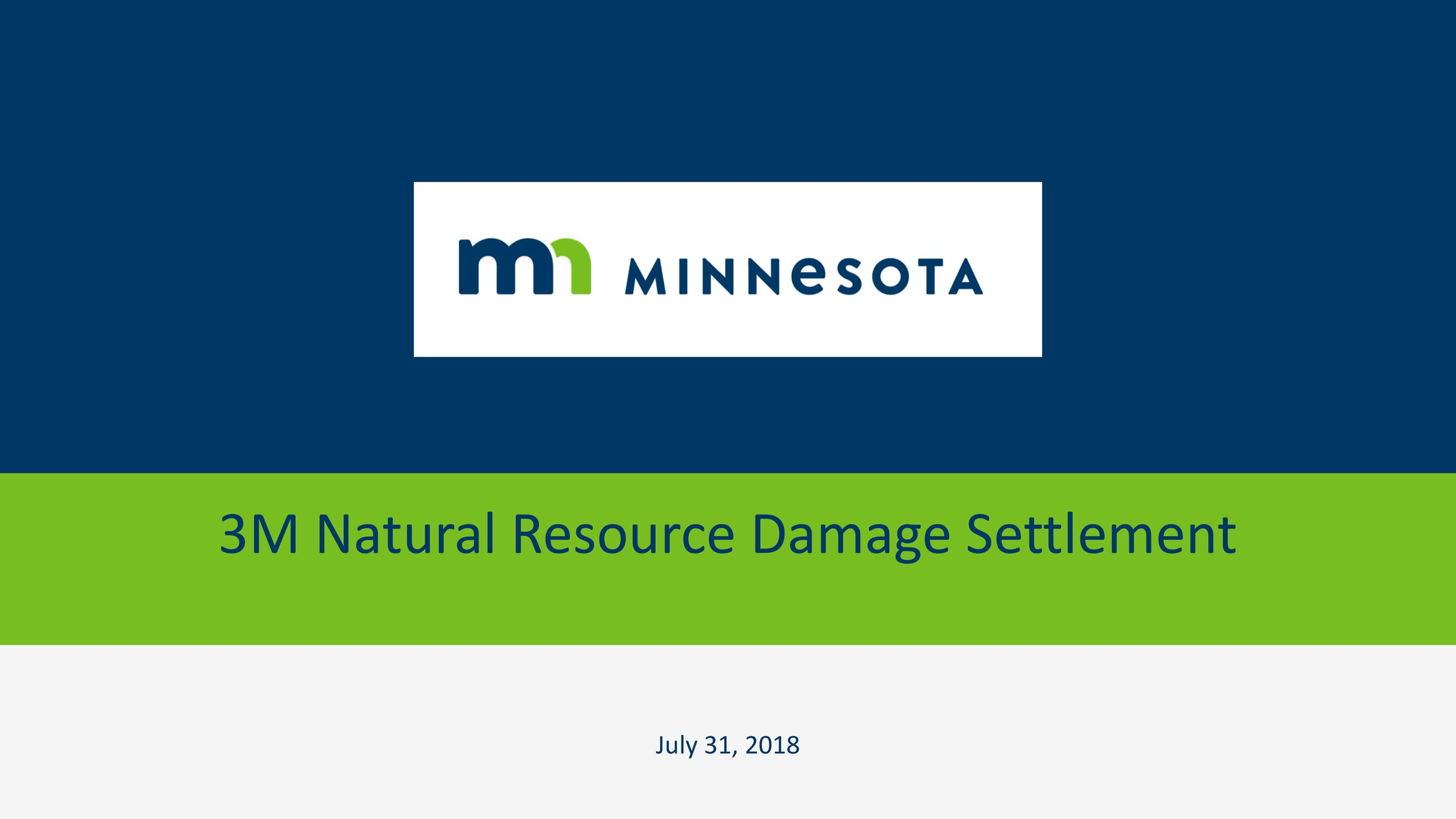 Title page in green and navy blue saying 3M natural resource damage settlement