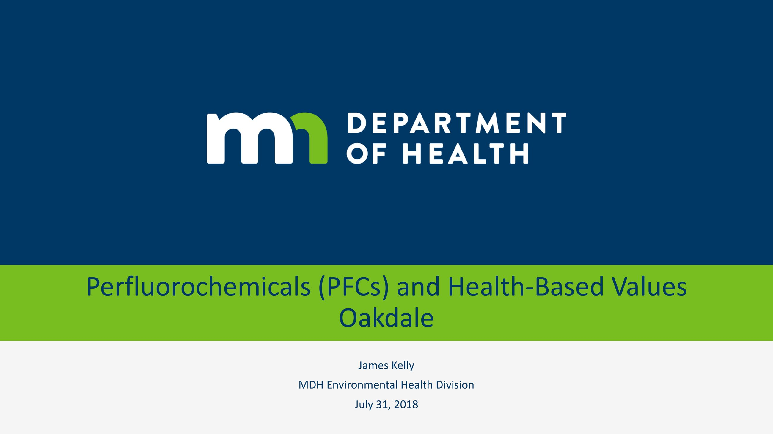 Title page in green and navy blue saying PFC and Health Based Values