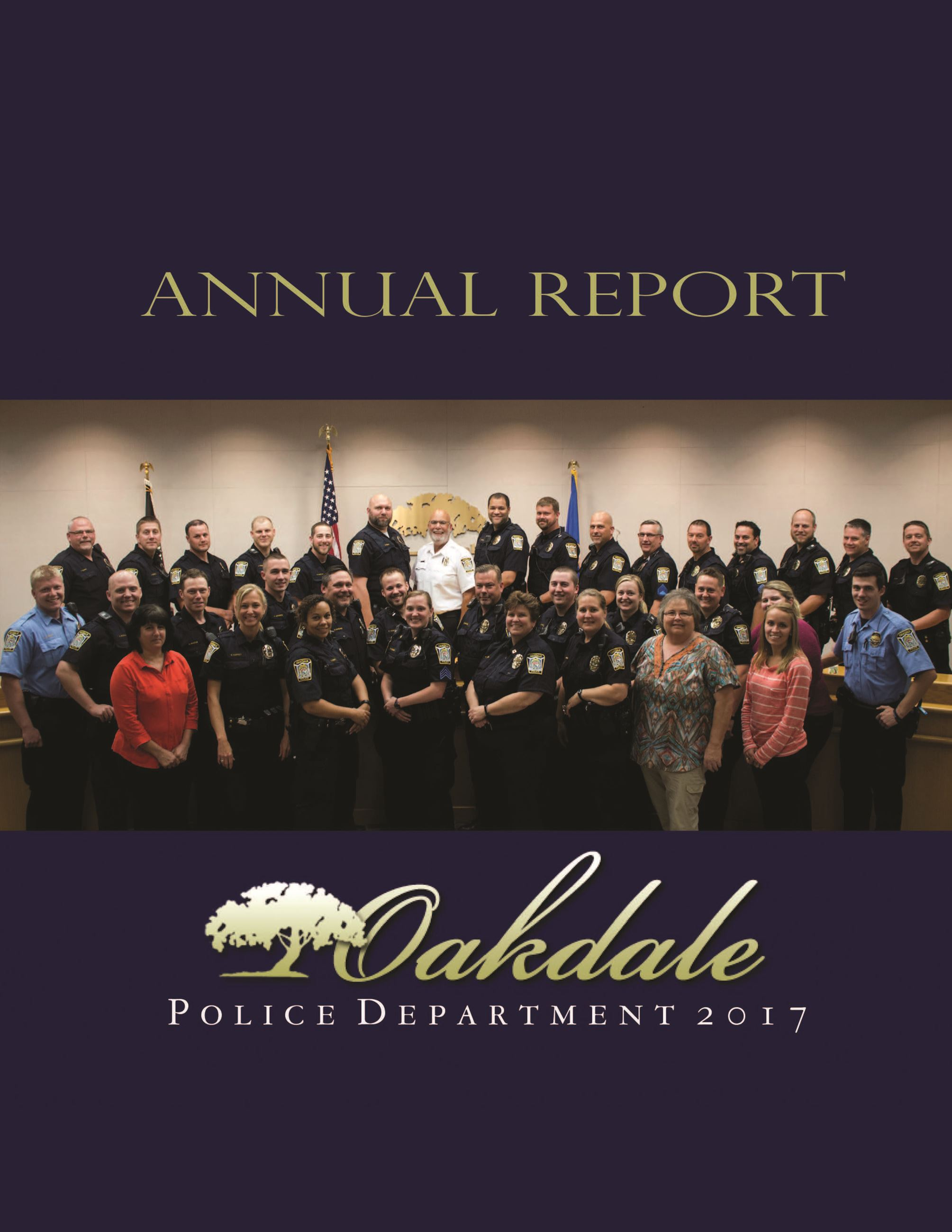 Cover of 2017 Annual Police Report with group photo of all police staff