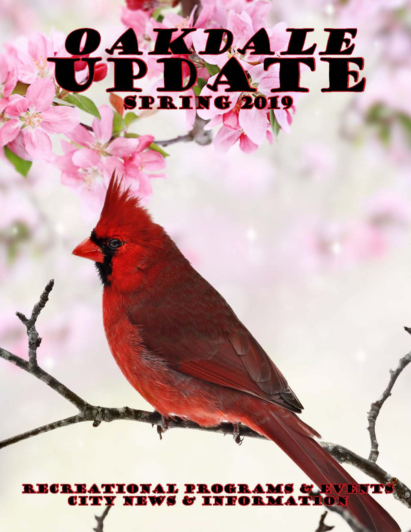 Cover of spring 2019 newsletter showing red cardinal bird on flowering crab tree branch