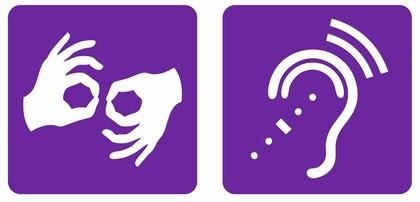 Icon showing deaf and hard of hearing symbols