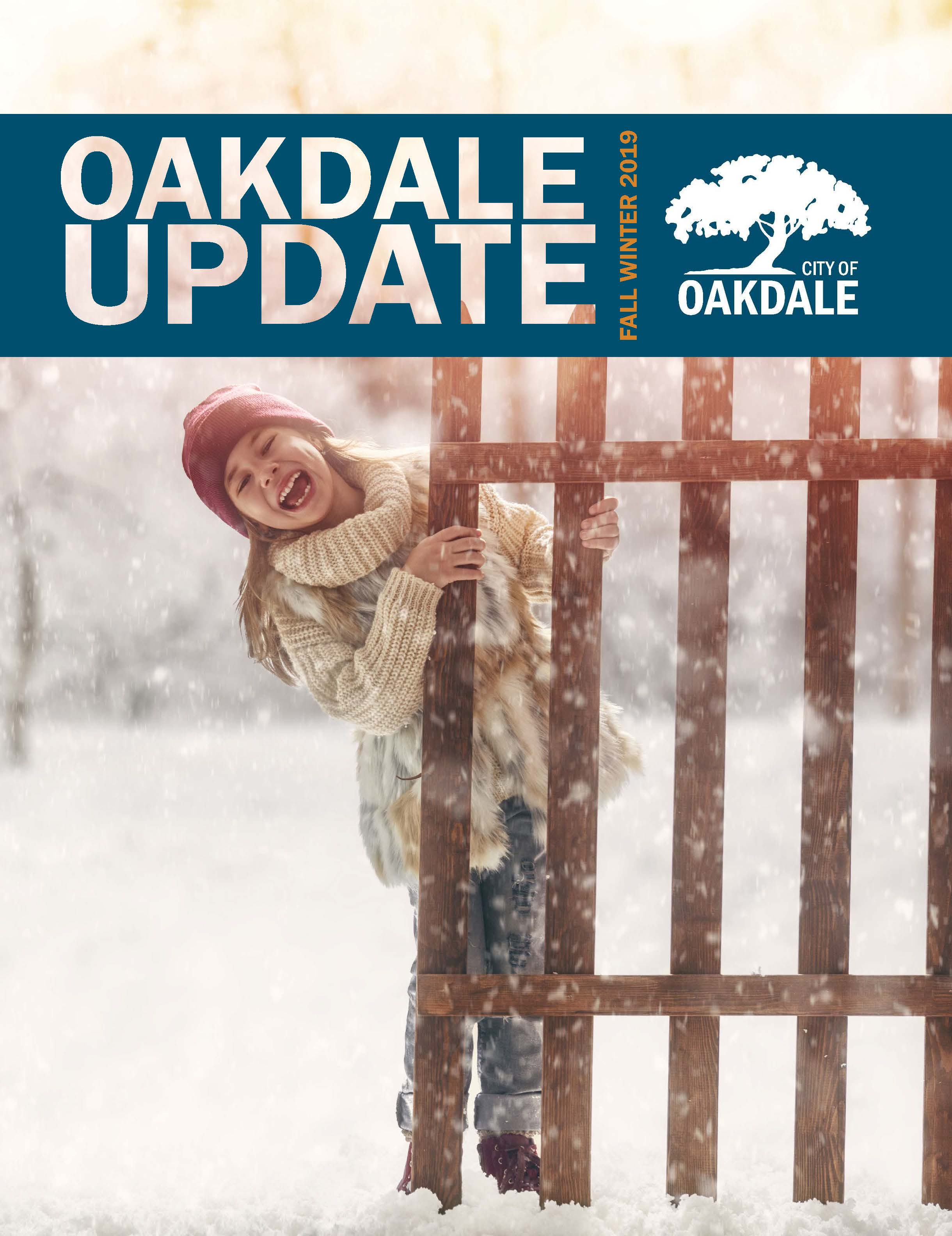 Cover of Oakdale Update Newsletter for Winter 2019 showing girl in snow