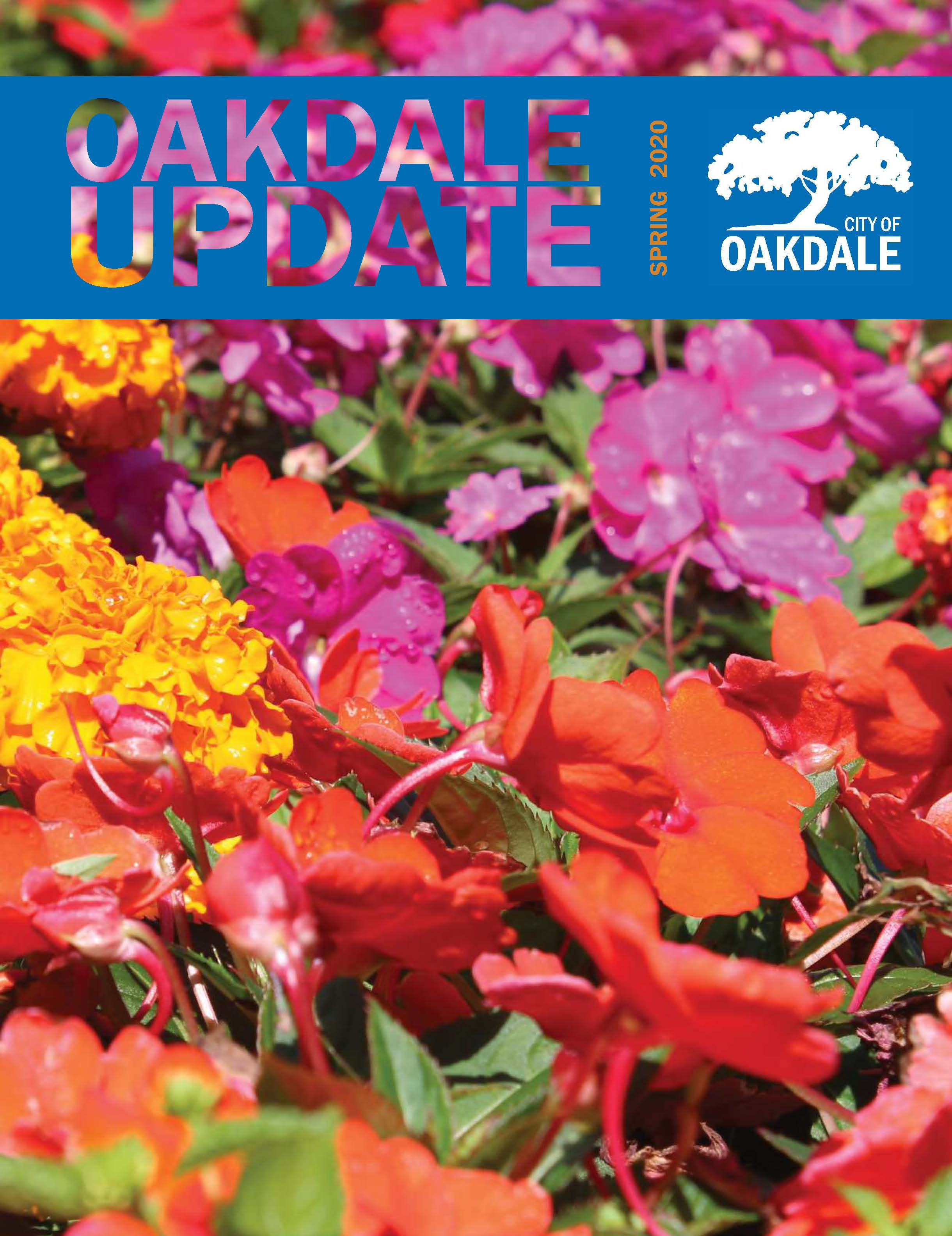 Cover of Oakdale Update Newsletter for Spring 2020 showing colorful flowers