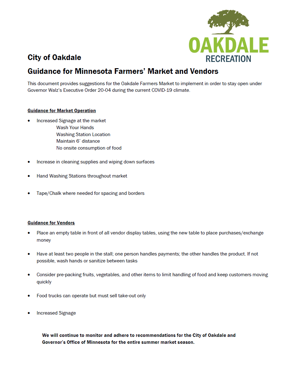 COVID-19 Guidance's and recommendations for 2020 Oakdale Farmers Market