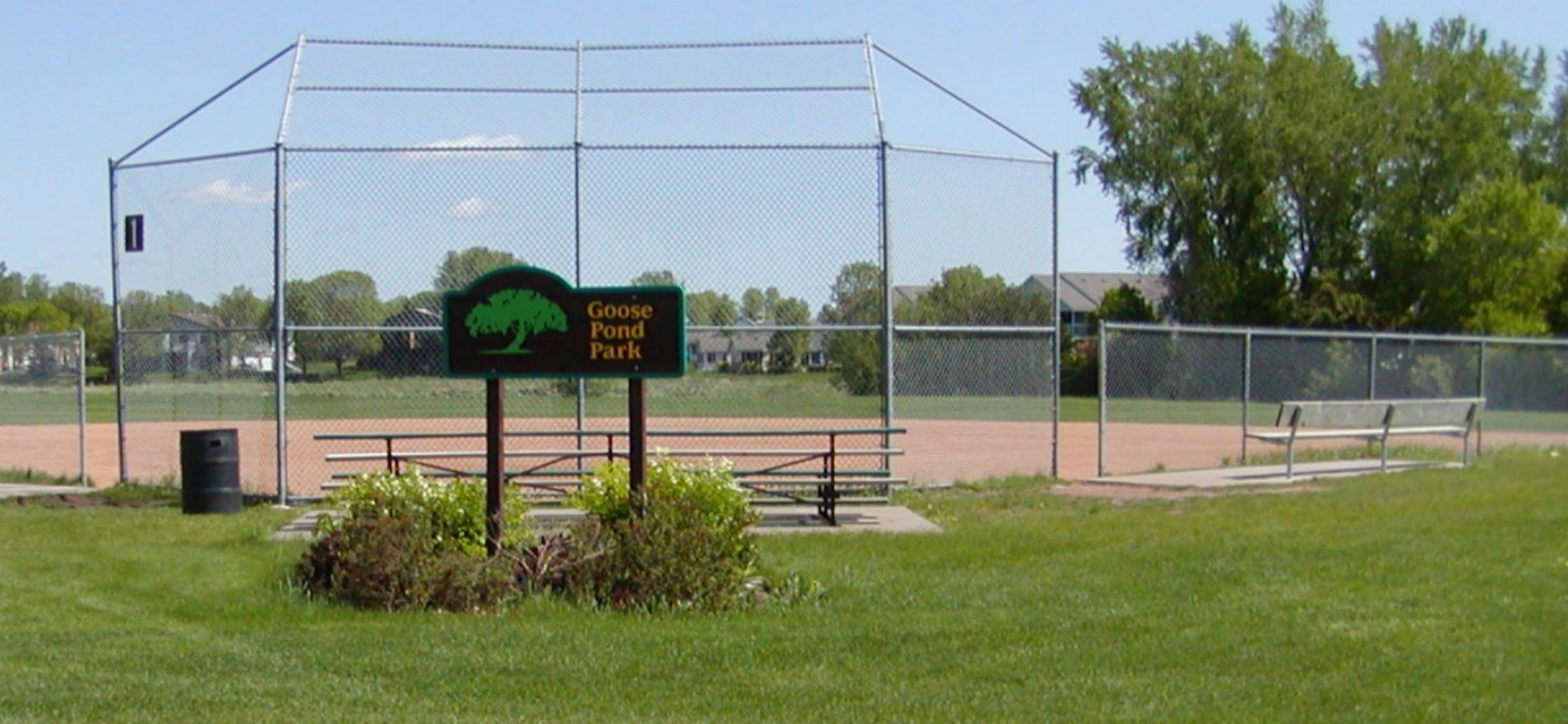 Image of Goosepond Park Sign with Ballfield