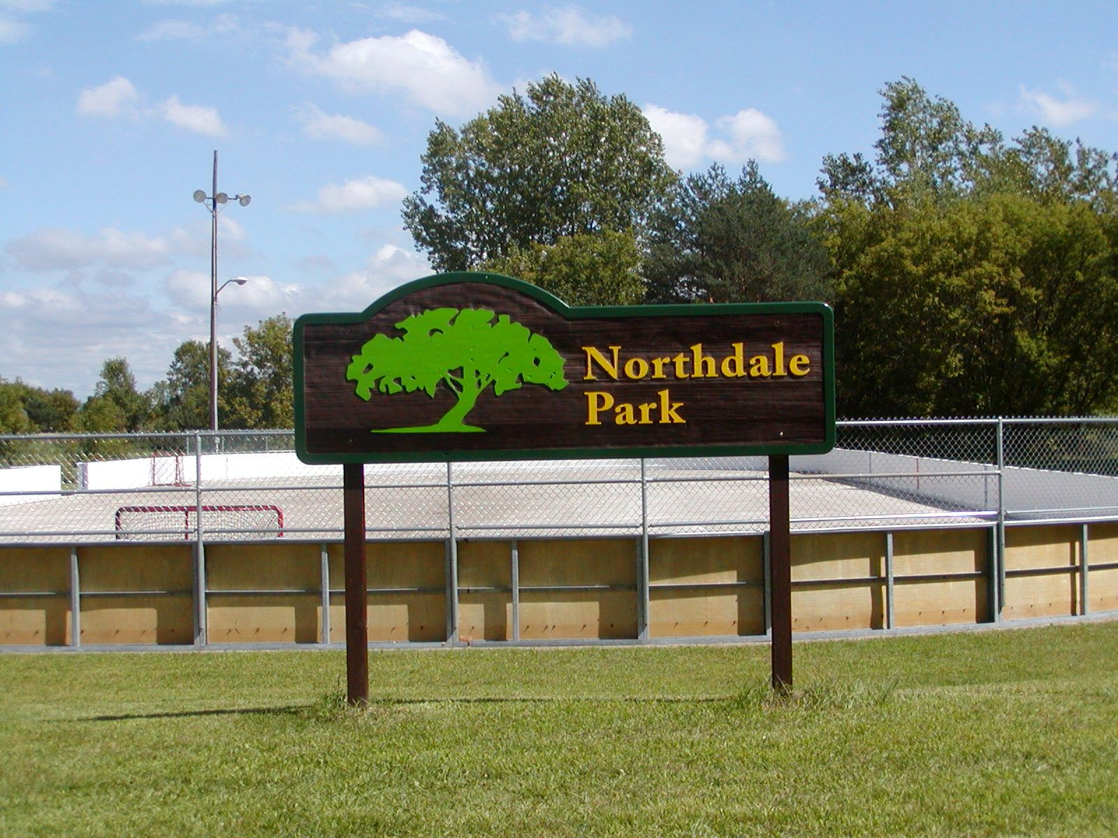Image of Northdale Park Sign and Hockey Rink